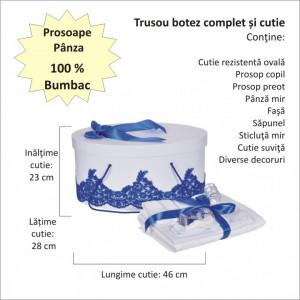 Set elegant trusou botez, cutie trusou si lumanare personalizata cu nume, decor dantela Albastra, Denikos® 939