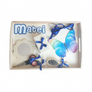 Set tavita mot, baietel 1 an, fundite albastre, decor fluture Denikos® 187