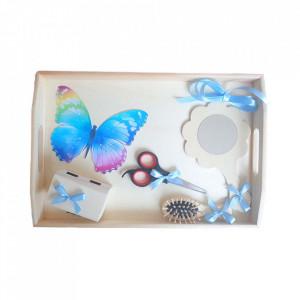 Set tavita mot simpla, baietel 1 an, fundite bleu, decor fluture, Denikos® 201