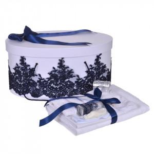 Set trusou botez si cutie trusou, dantela si fundita, decor elegant Bleumarin, Denikos® 850