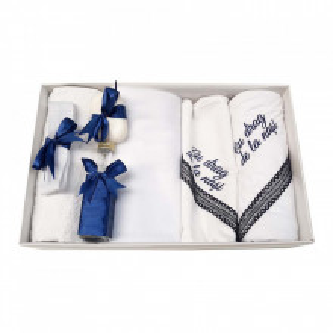 Trusou botez cu mesaj si lumanare botez personalizata, decor bleumarin cu iepuras, Denikos® 792