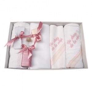 Trusou botez cu mesaj si lumanare cu iepuras, decor dusty rose, Denikos® 545