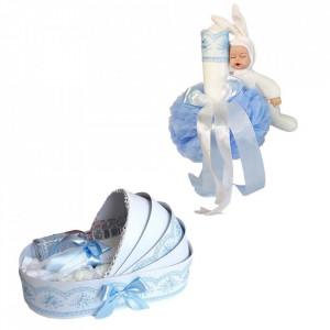 Trusou botez in landou si lumanare cu iepuras, decor bleu Denikos® 171