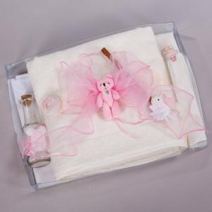 Trusou botez ursuleti si figurine roz NK027