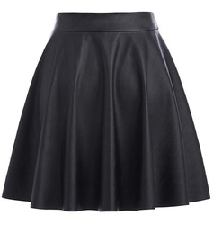 High Waist Synthetic Skirt
