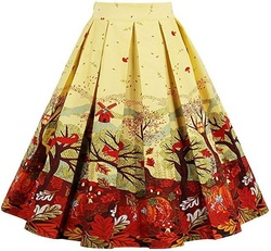 Women's Vintage Floral Swing Skirt