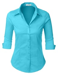 Women's Roll Up Button Down Shirt Stretch