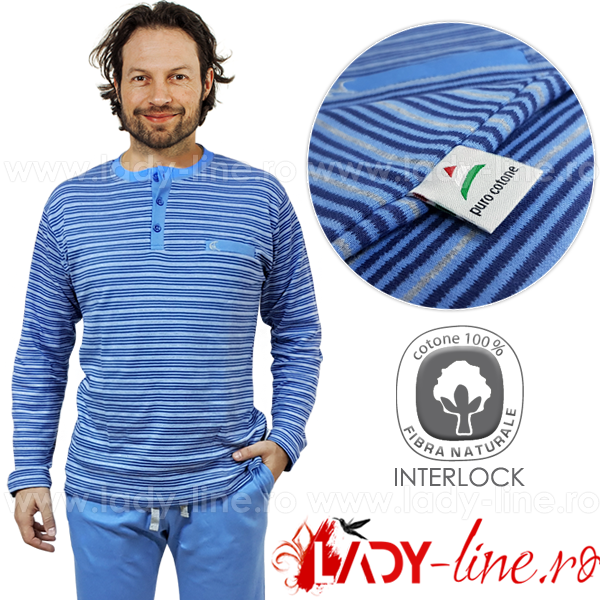 Pijamale Barbati Bumbac Natural, Contro Senso, 'Basic Lines Blue'