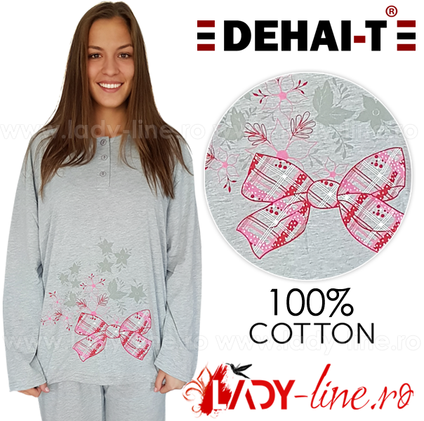 Pijamale Dama Marimi Mari, Dehai-T, 'Flowers & Surprise' Gray