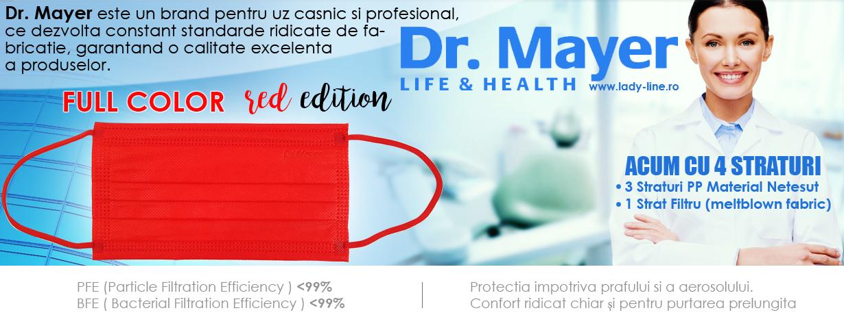 Masca Faciala Medicala cu 4 Straturi Dr. Mayer Red Full Color Edition Cutie 50 Bucati