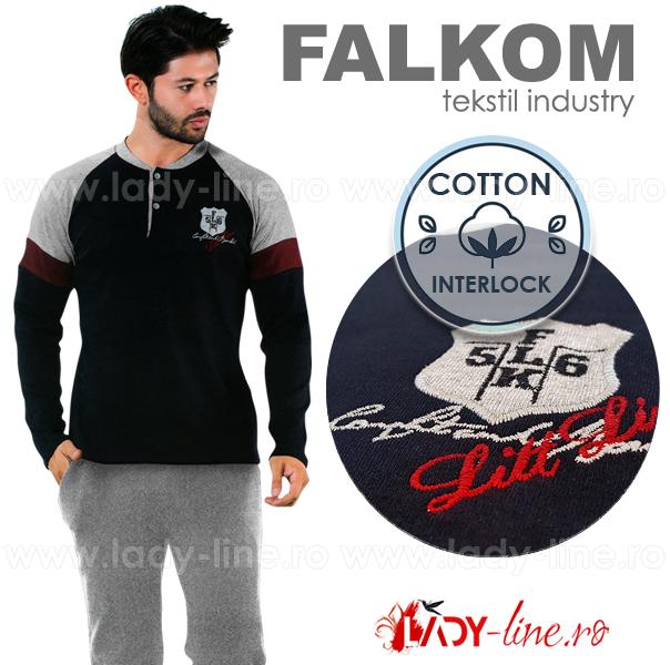 Pijama Barbati Bumbac Interlock, Falkom, 'FLK 56 Line'