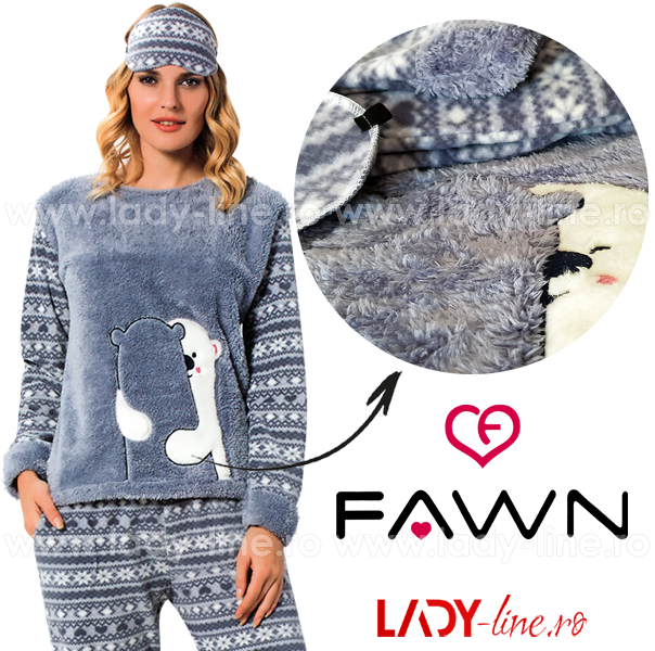 Pijama Calduroasa Dama + Masca Dormit, Fawn, 'Bear in Love'