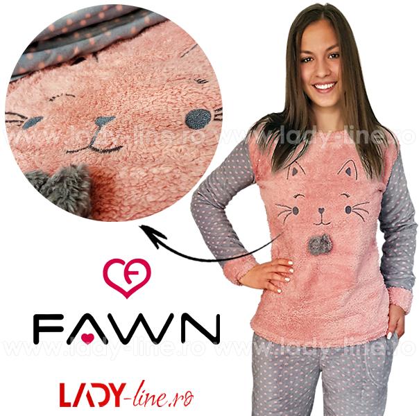 Pijama Calduroasa Dama + Masca Dormit, Fawn, 'Happy Kitty'