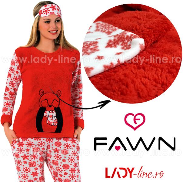 Pijama Calduroasa Dama + Masca Dormit, Fawn, 'Hot Winter'