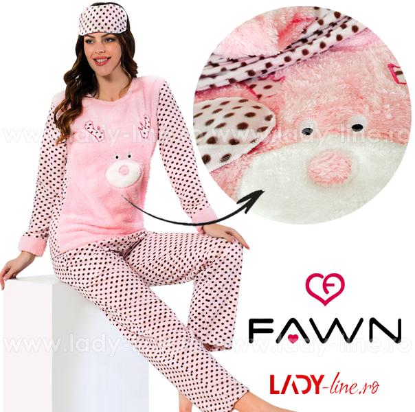 Pijama Calduroasa Dama + Masca Dormit, Fawn, 'Pink Rudolf'