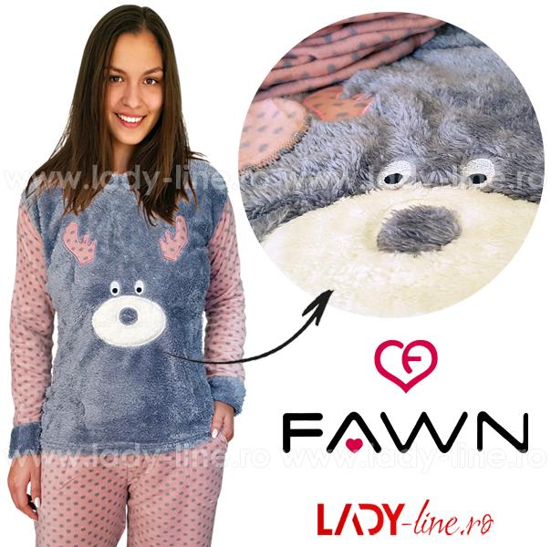 Pijama Calduroasa Dama + Masca Dormit, Fawn, 'Rudolf'