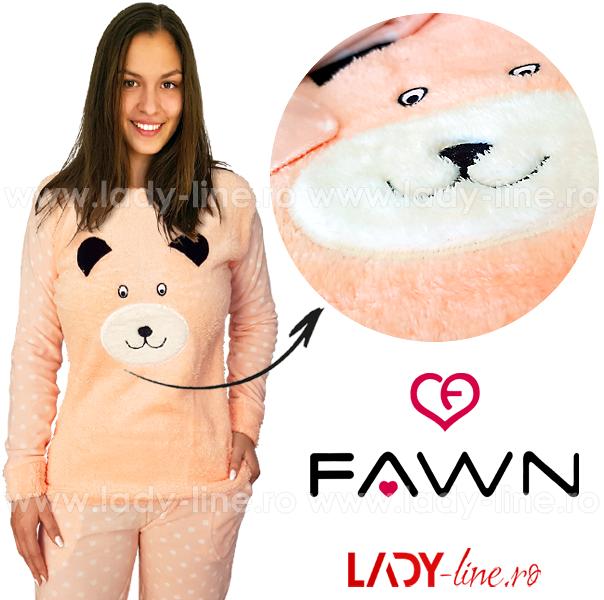 Pijama Calduroasa Dama + Masca Dormit, Fawn, 'Sweet Bear'