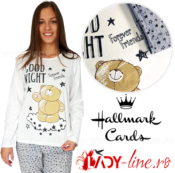 Pijamale Dama Maneca/Pantalon Lung, Hallmark Cards, 'Good Night'