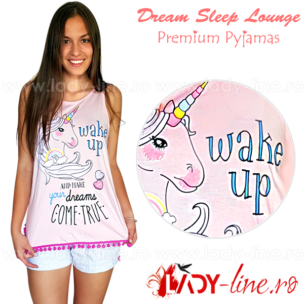 Pijamale dama de vara din bumbac 100%, 'Unicor - Make Your Dreams Comtrue'