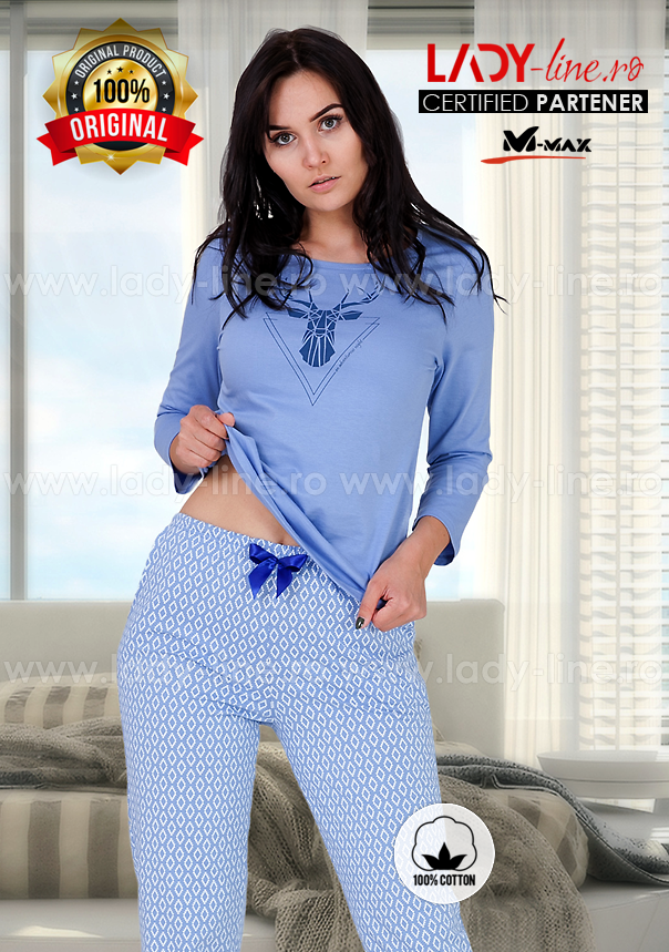 Pijama Dama Bumbac, M-Max, 'Adventurous Night' Blue