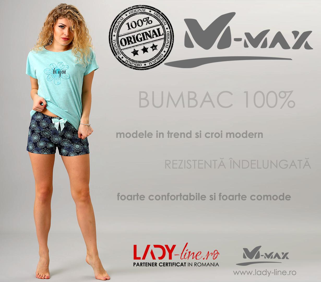 Pijamale Dama M-Max, Bumbac 100%, 'Be You - Design & Style'