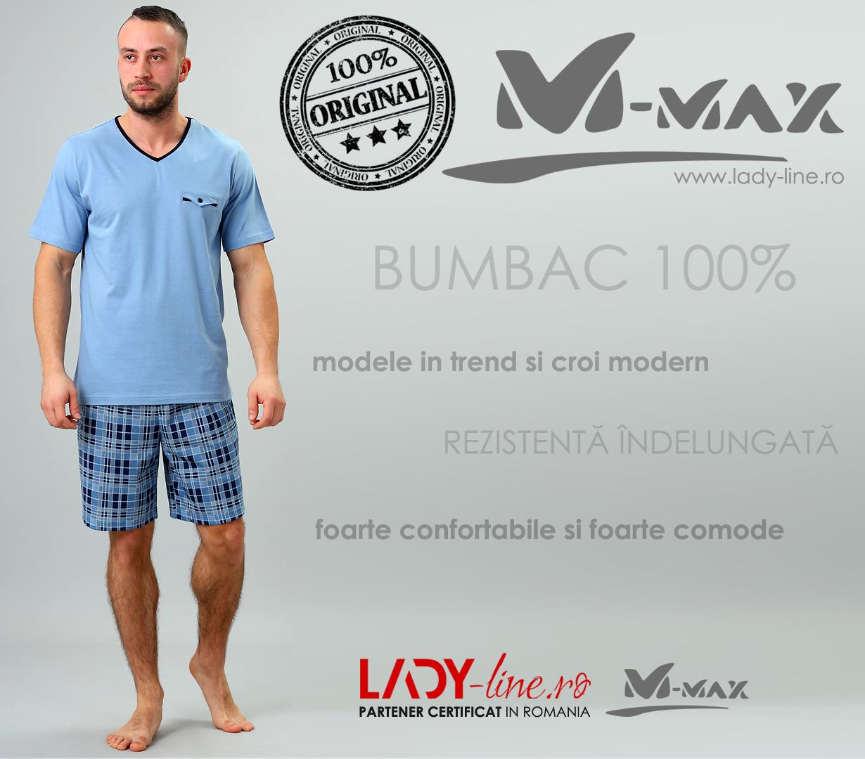 Pijamale Barbati M-Max, Bumbac 100%, 'Blue Attic'