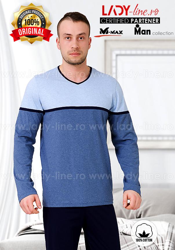 Pijamale Barbati, Bumbac 100%, 'Blue Base', M-Max