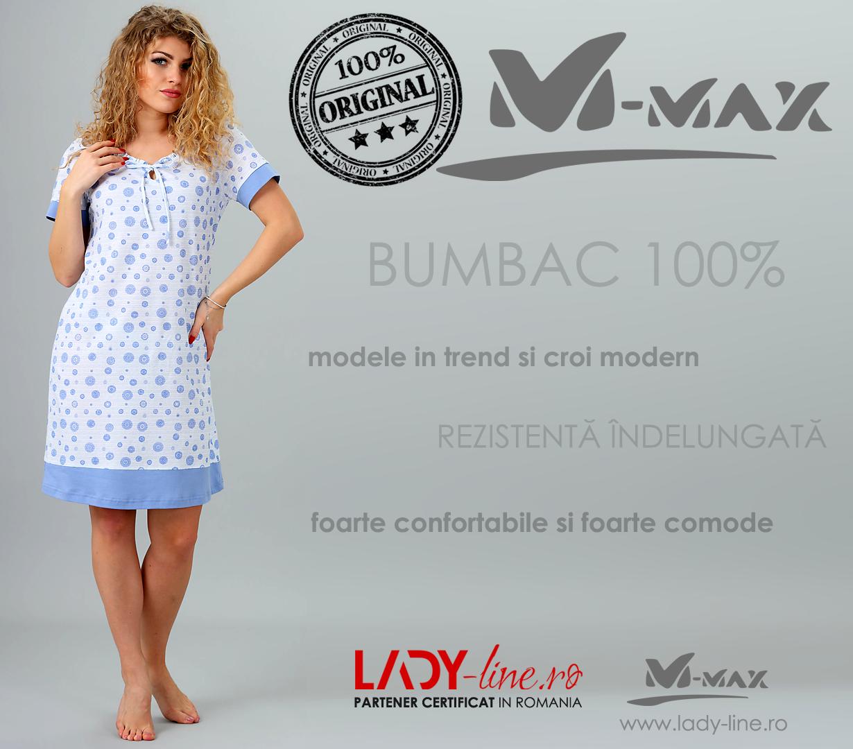 Camasa de Noapte M-Max, Bumbac 100%, 'Blue Mood'