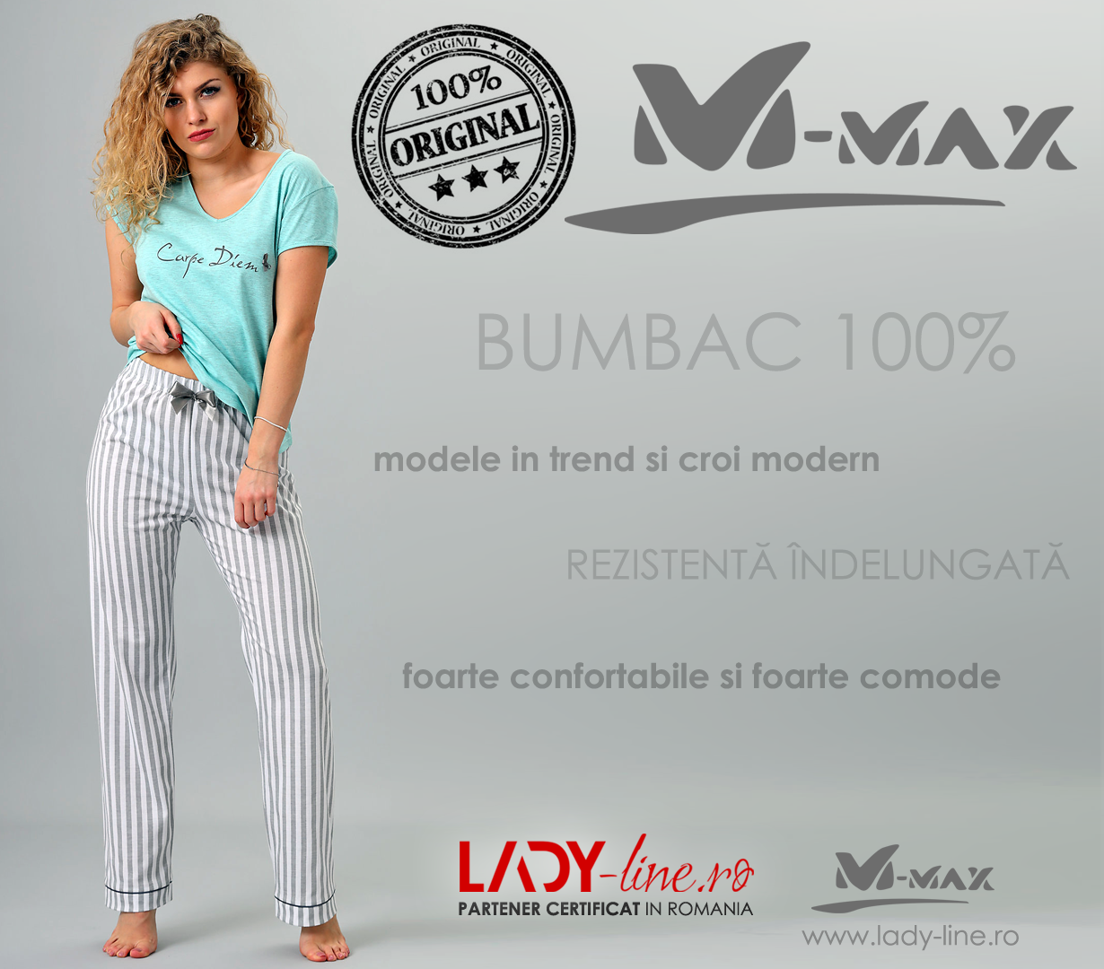 Pijama Dama M-Max, Bumbac 100%, 'Carpe Diem'