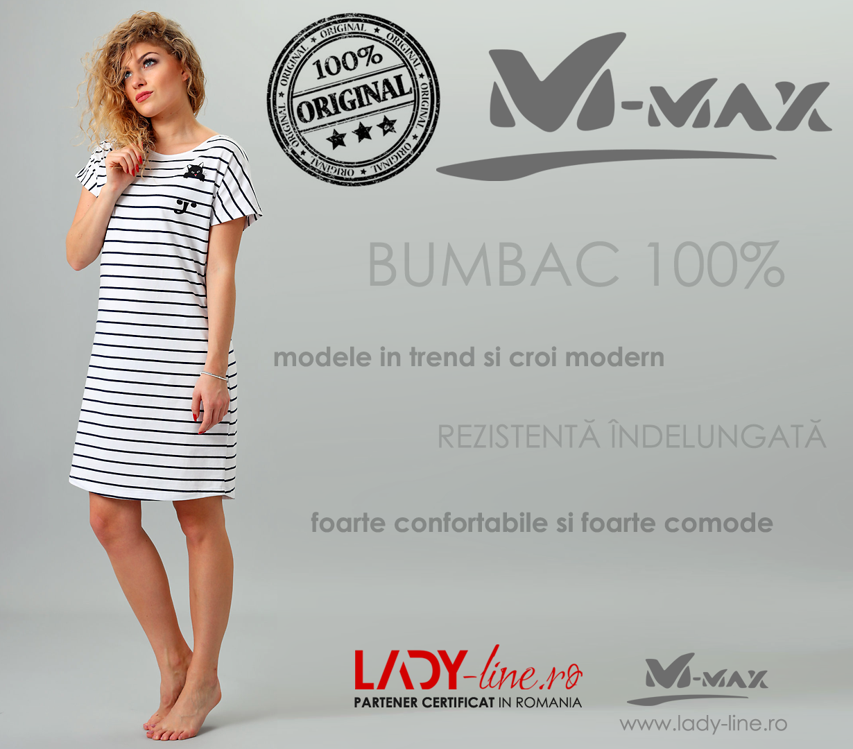 Camasa de Noapte M-Max, Bumbac 100%, 'Curious Black Kitty'