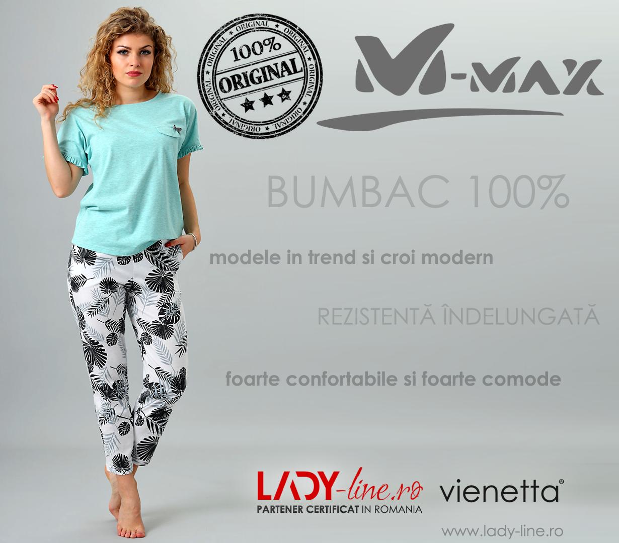 Pijama Dama M-Max, Bumbac 100%, 'Eco Land'