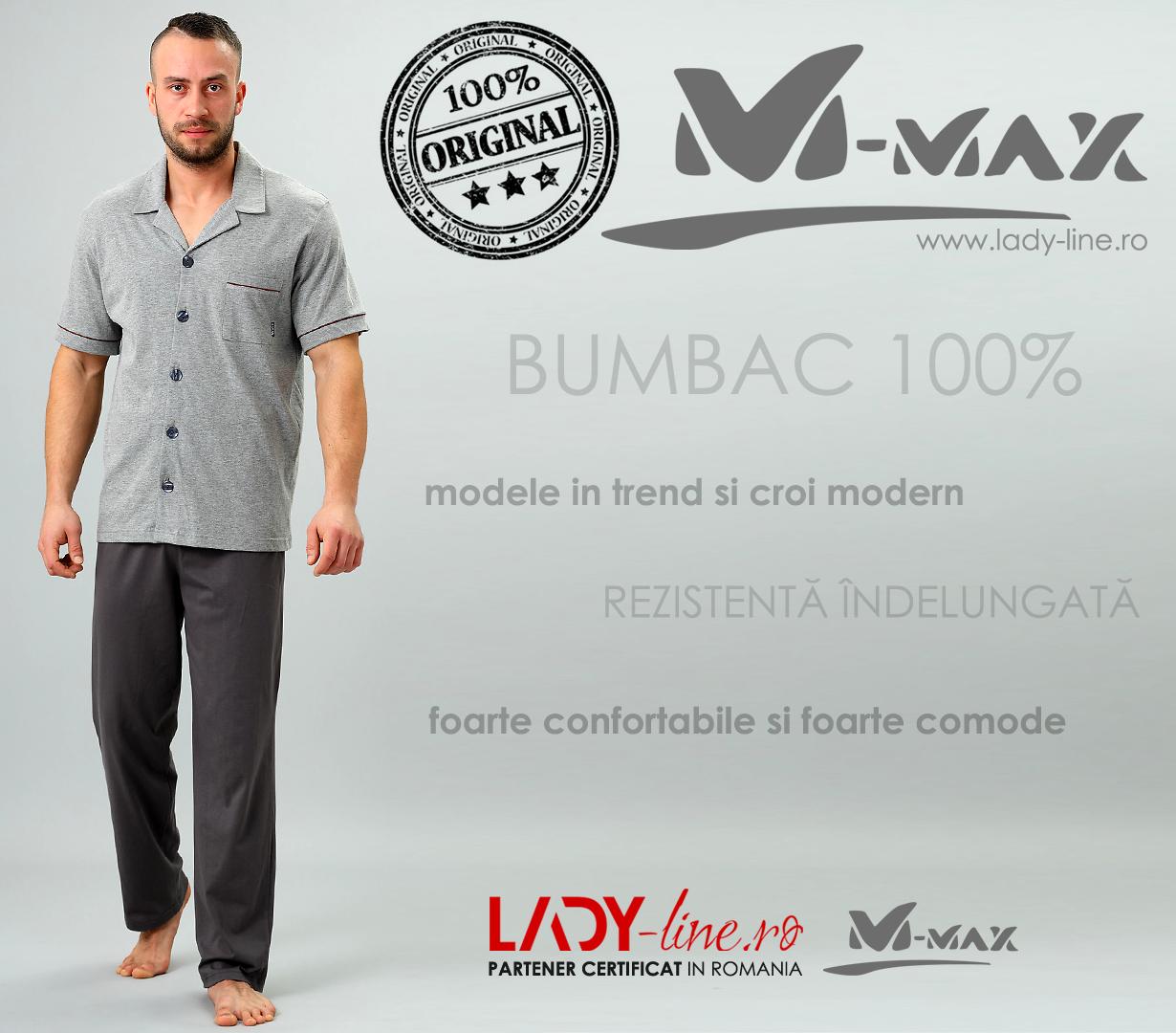 Pijamale Barbati M-Max, Bumbac 100%, 'Geo Adventure'