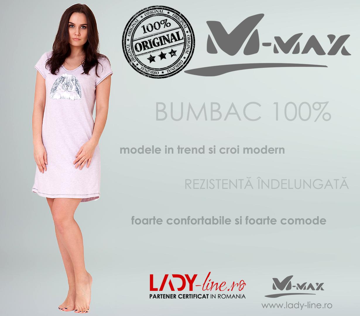 Camasa de Noapte M-Max, Bumbac 100%, 'Funny Bunny'