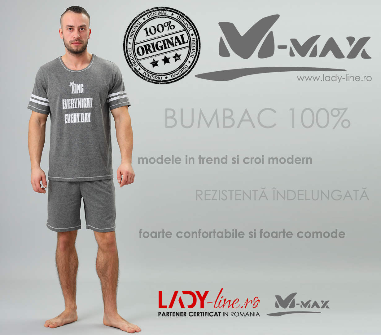Pijamale Barbati M-Max, Bumbac 100%, 'King EvryNight EveryDay'