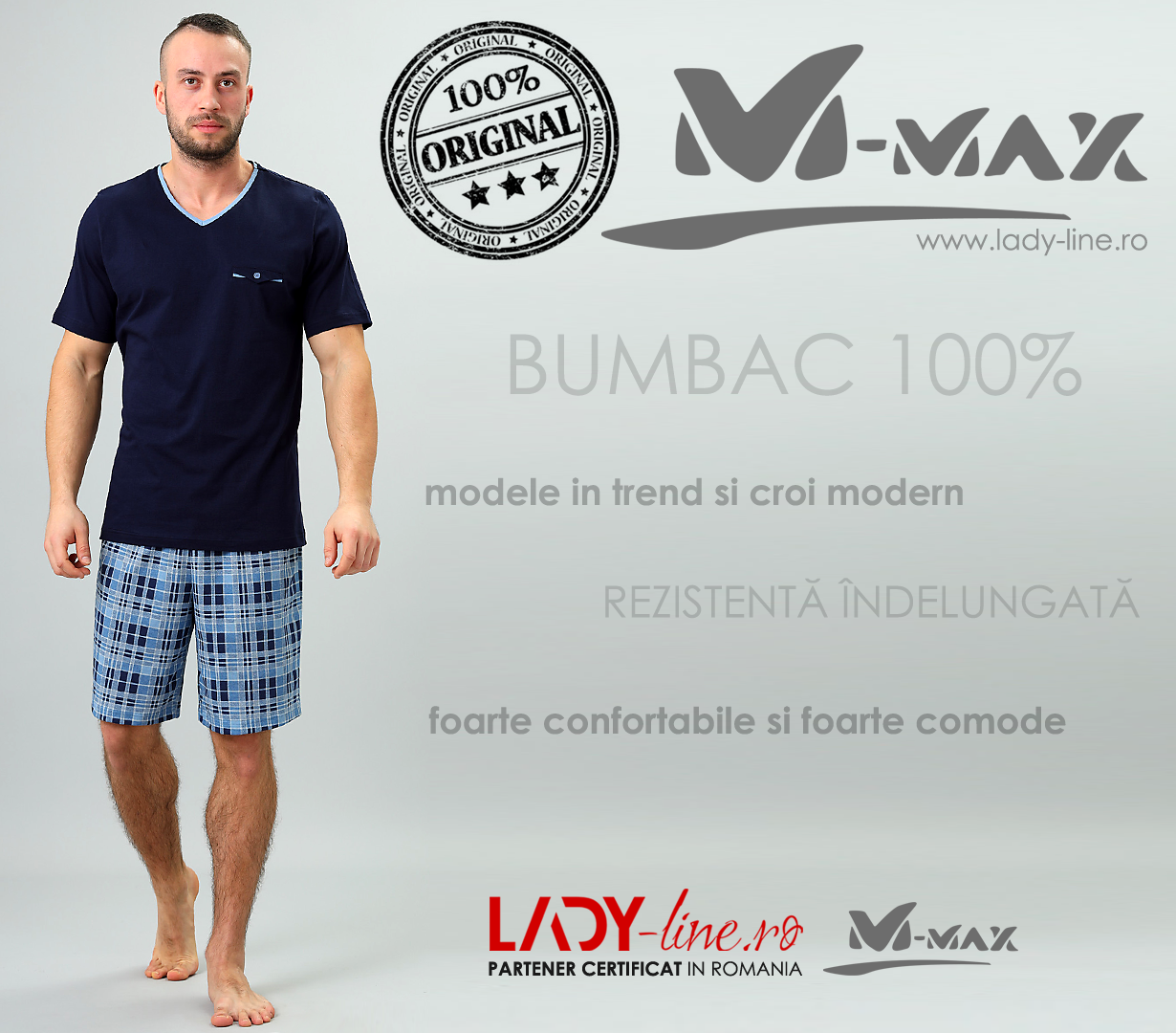 Pijamale Barbati M-Max, Bumbac 100%, 'Legendary Blue'