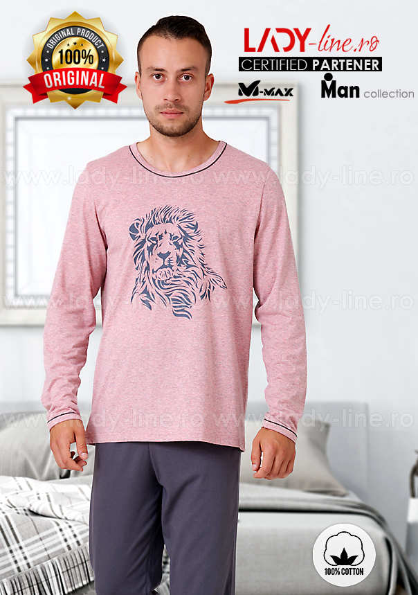 Pijamale Barbati, Bumbac 100%, 'Lion', M-Max