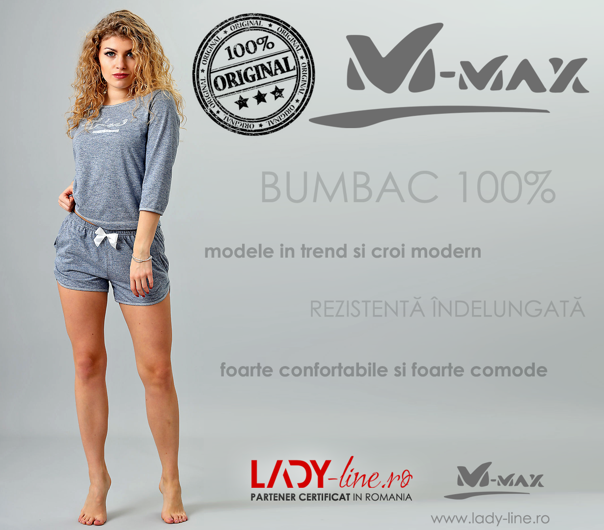 Pijamale Dama M-Max, Bumbac 100%, 'Live The Life You Love'