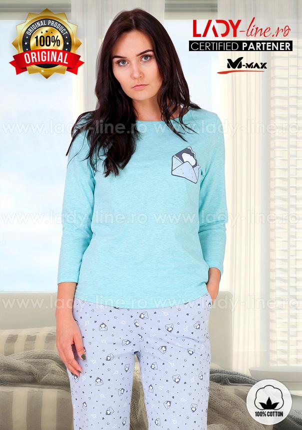 Pijama Dama Bumbac, M-Max, 'Mail Me' Vernil