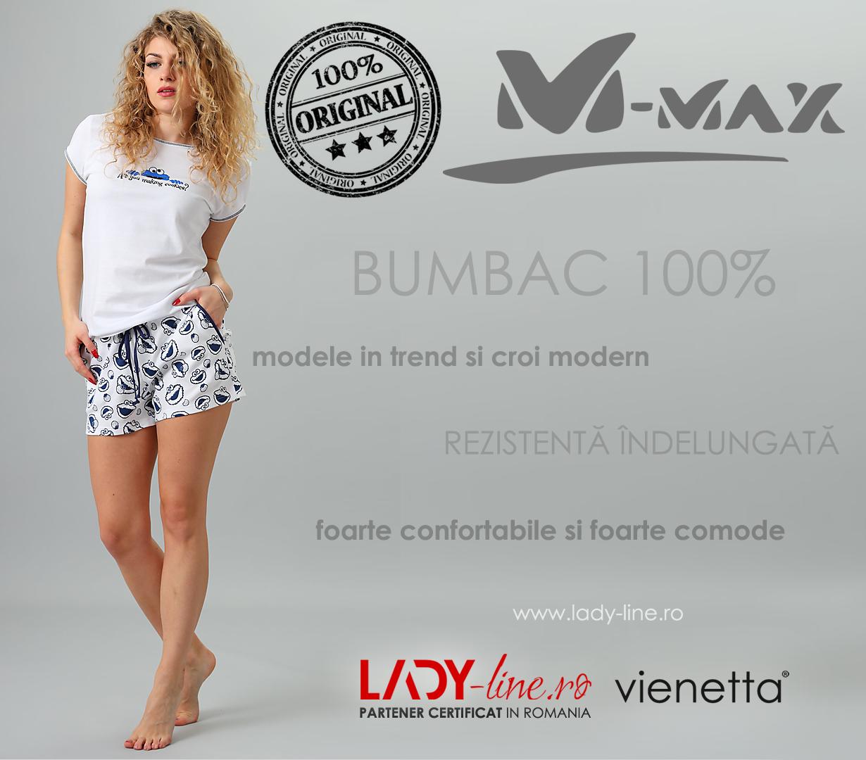 Pijamale Dama M-Max, Bumbac 100%, 'Making Cookies'
