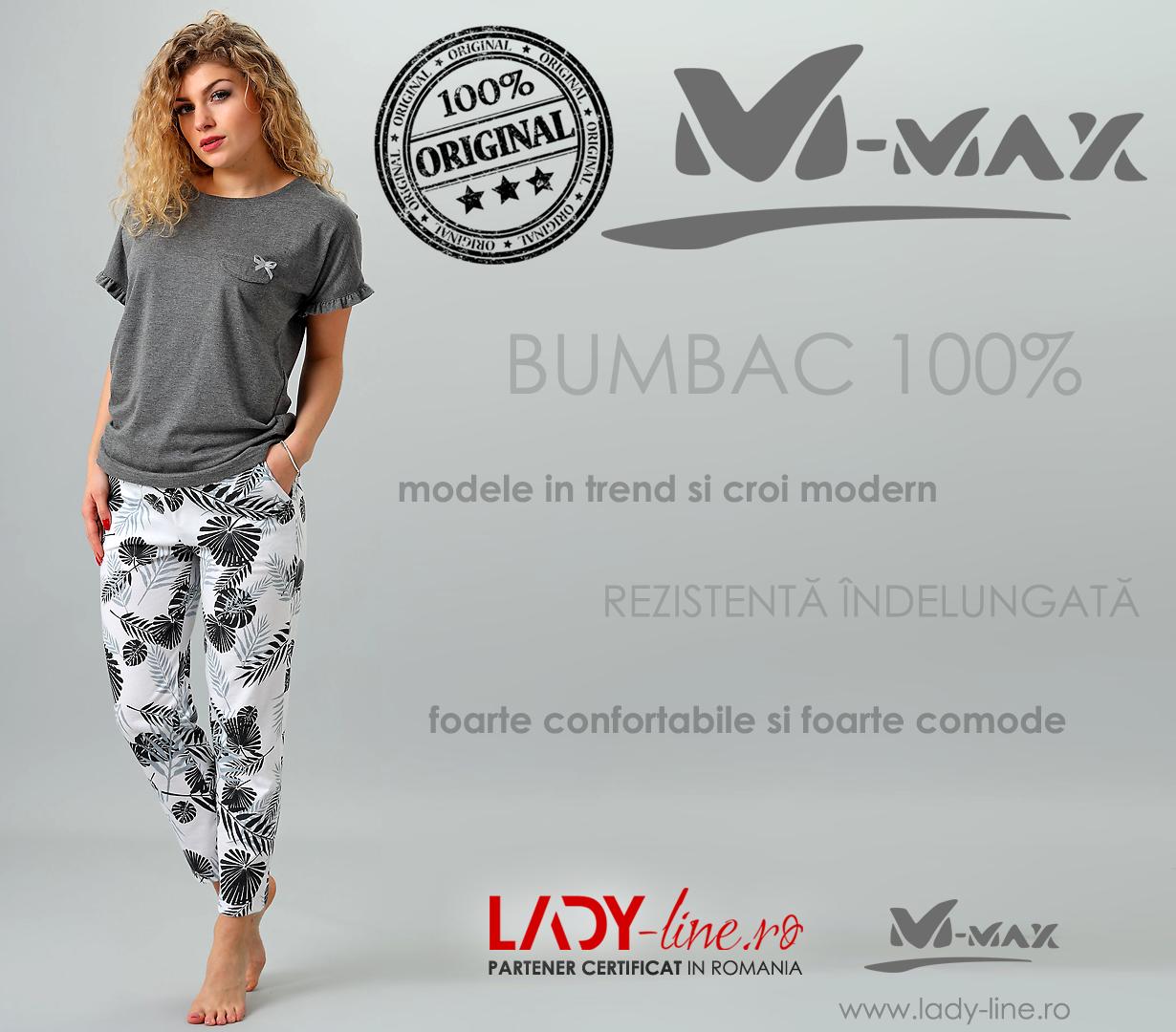 Pijama Dama M-Max, Bumbac 100%, 'Nature Line'