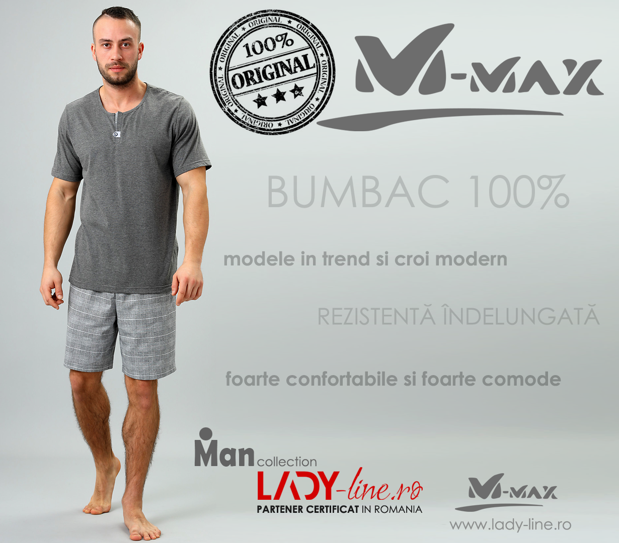 Pijamale Barbati M-Max, Bumbac 100%, 'North Pride'