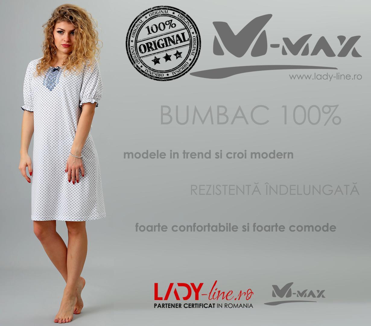 Camasa de Noapte M-Max, Bumbac 100%, 'Popular Tradition'