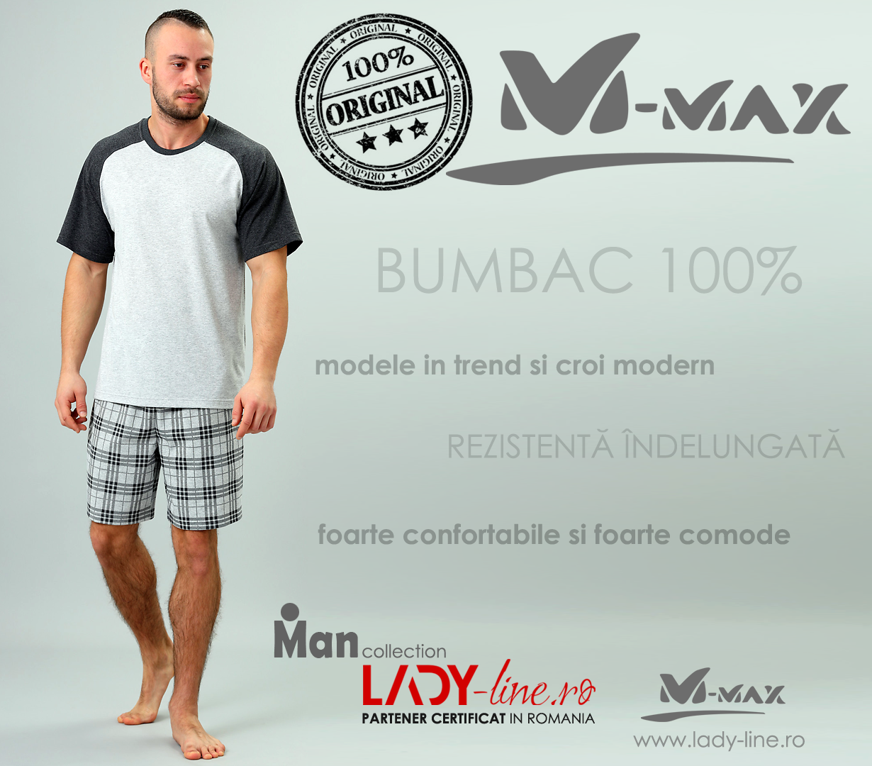 Pijamale Barbati M-Max, Bumbac 100%, 'Power of Light'