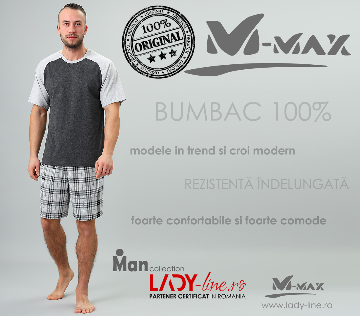 Pijamale Barbati M-Max, Bumbac 100%, 'Power of Shadows'