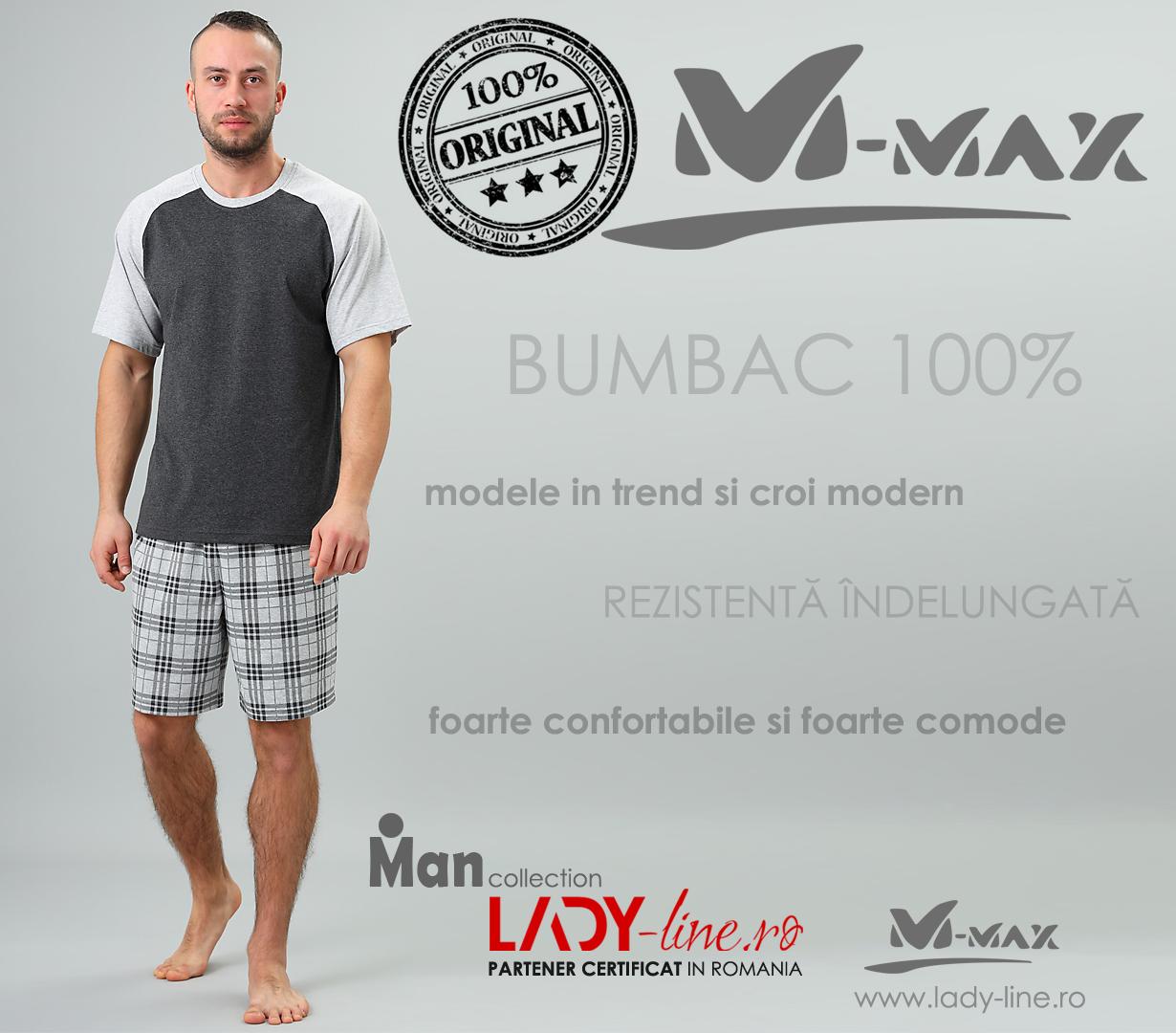 Pijamale Barbati M-Max, Bumbac 100%, 'Power of Shadows'