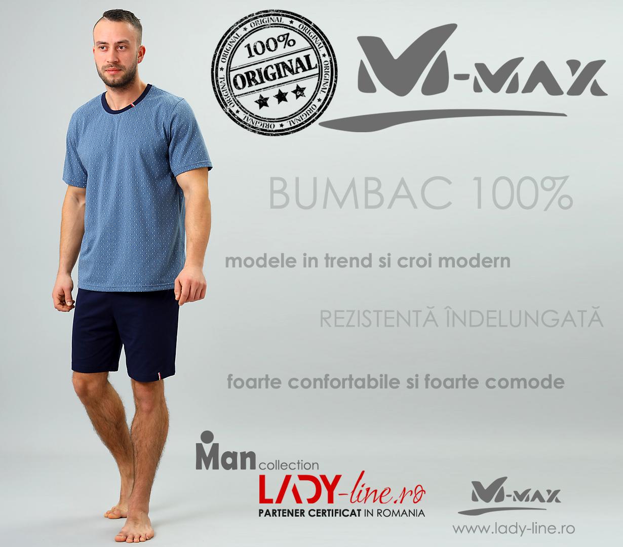 Pijamale Barbati M-Max, Bumbac 100%, 'Proud and Focused'