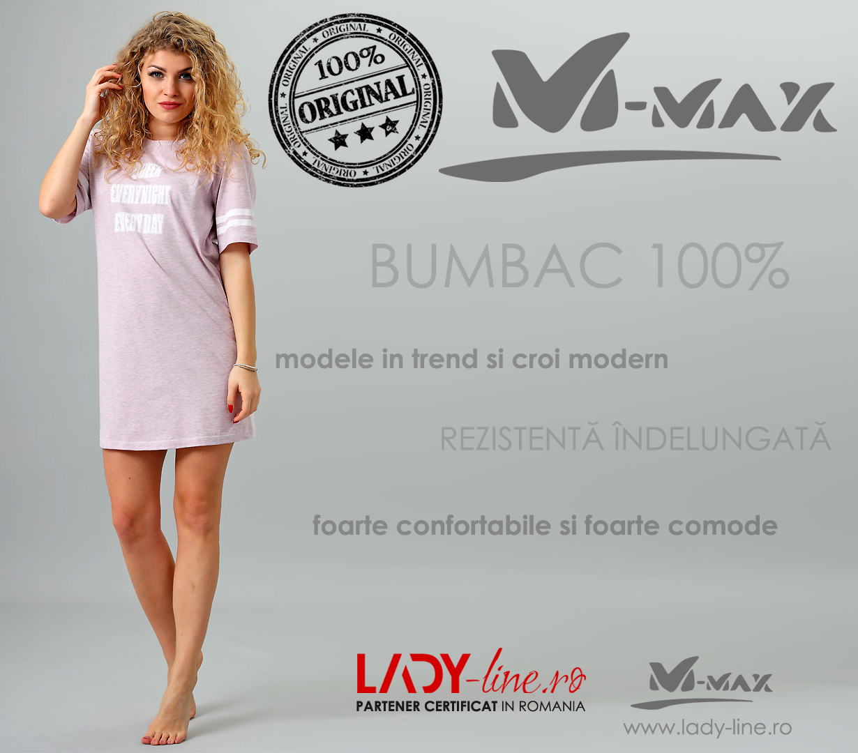 Camasa de Noapte M-Max, Bumbac 100%, 'Queen Everynight Everday'