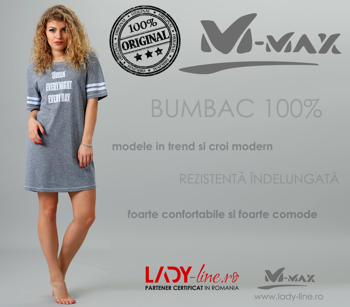 Camasa de Noapte M-Max, Bumbac 100%, 'Queen Everynight Everday' Gray