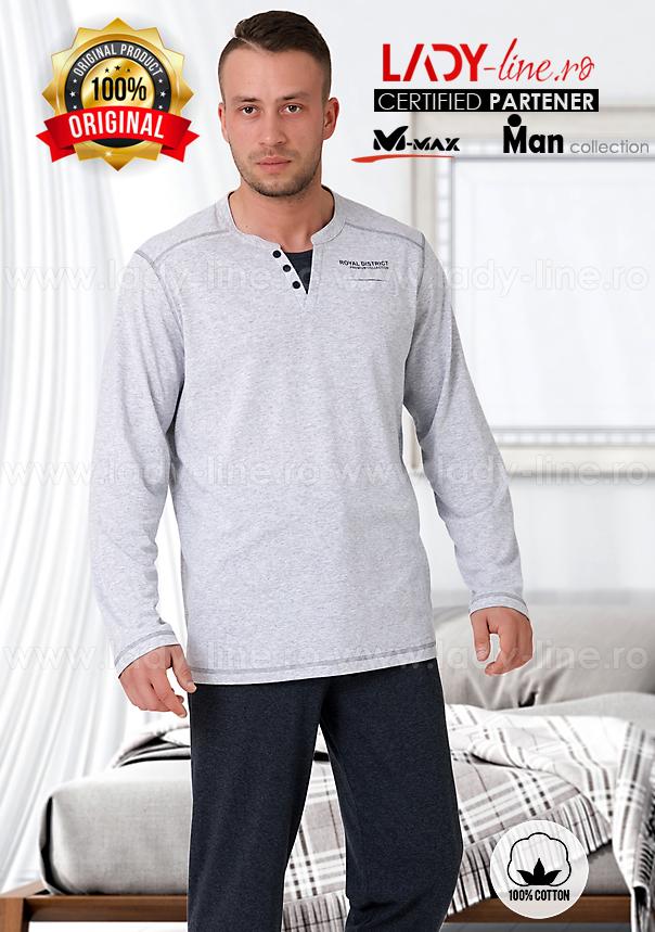 Pijamale Barbati, Bumbac 100%, 'Royal District' Gray, M-Max