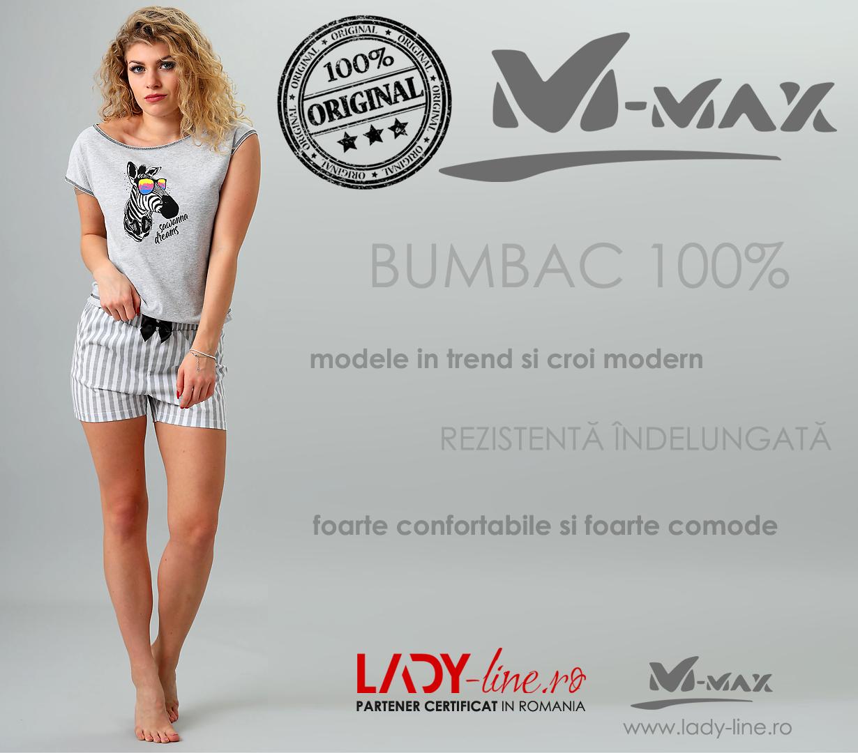 Pijamale Dama M-Max, Bumbac 100%, 'Sawanna Dreams' Gray